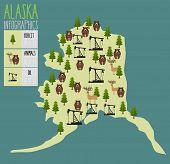 Alaska map. Natural resources: oil and wood. Animals of Alaska bears and moose. Infographics of Alaska. Vector illustration poster