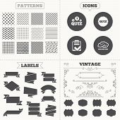 Seamless patterns. Sale tags labels. Quiz icons. Brainstorm or human think. Checklist symbol. Survey poll or questionnaire feedback form. Questions and answers game sign. Vintage decoration. Vector poster
