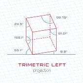 Frame Object in Axonometric Perspective - Trimetric Left Grid Template Guideline poster