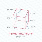 Frame Object in Axonometric Perspective - Trimetric Right Template Guideline poster