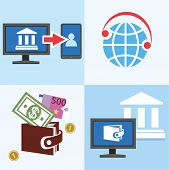 Color flat illustrations, icons - manage your personal Bank account, e-wallet, Bank transfers, email and phone. poster