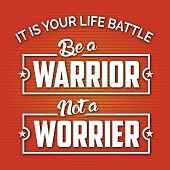 Modern design with Life Motivation Quote for your Life style.Don't fail with Problems.Life is a battle.Fight like a Warrior poster