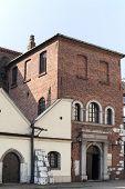 old synagogue in jewish district of krakow - kazimierz on szeroka street in poland poster