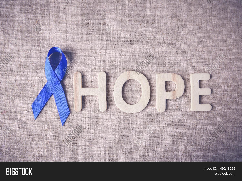 Blue Ribbon Hope Word Image Photo Free Trial Bigstock