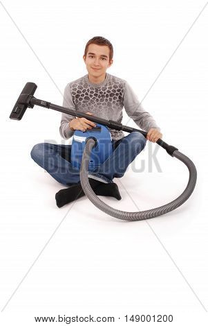 Boy with vacuum cleaner isolated on white background