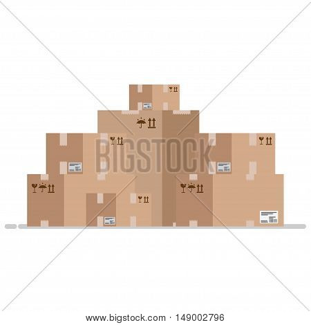 Move service box full vector illustration. Craft box isolated on background. Box for moving. Transportation package