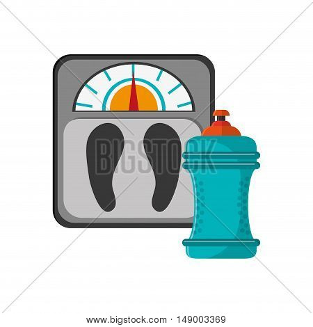 flat design weight scale and  sports bottle icon vector illustration