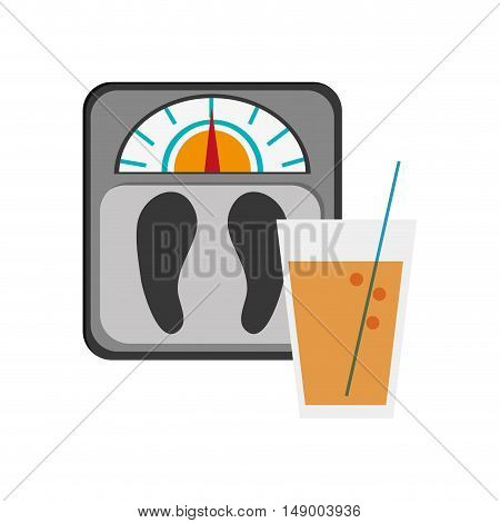 flat design weight scale and  glass beverage icon vector illustration