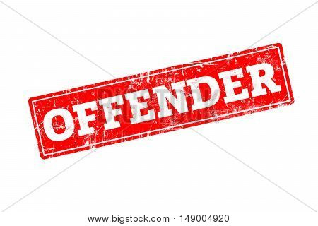 OFFENDER word written on red rubber stamp with grunge edges.