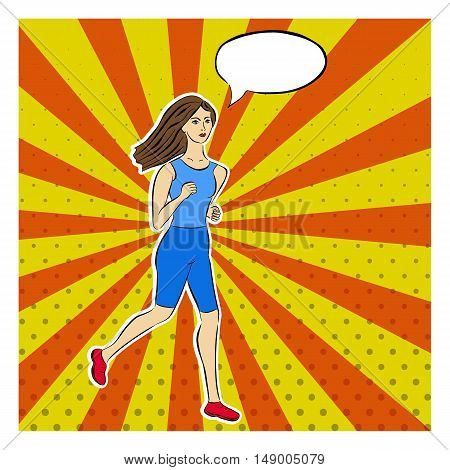 Running girl in pop art style. Dotted rays pop art background. Comic Speech Bubblee. Cartoon woman cut from paper. Vector illustration.