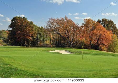 Autumn golf green