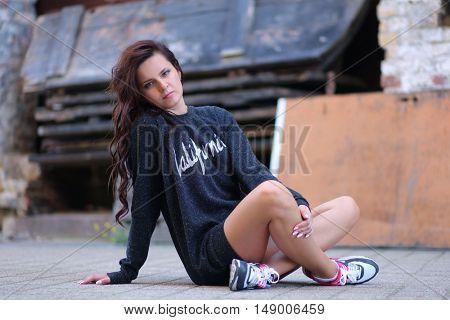 beautiful young girl ralaxing outdoors