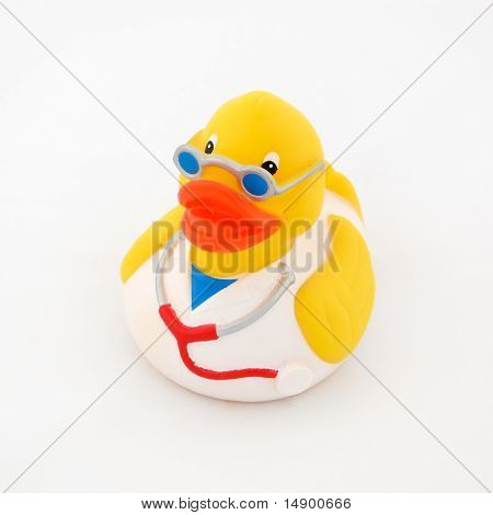 Rubber duck wearing doctor'clothing isolated on a white background. poster