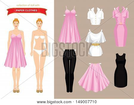 Paper doll with clothes for office and holiday. Body template. Redhead woman in elegant pink dress isolated on white background