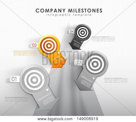 Infographic company milestones timeline vector template. Vector art