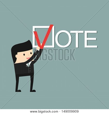 A man puts a  check mark. People vote. Vector illustration