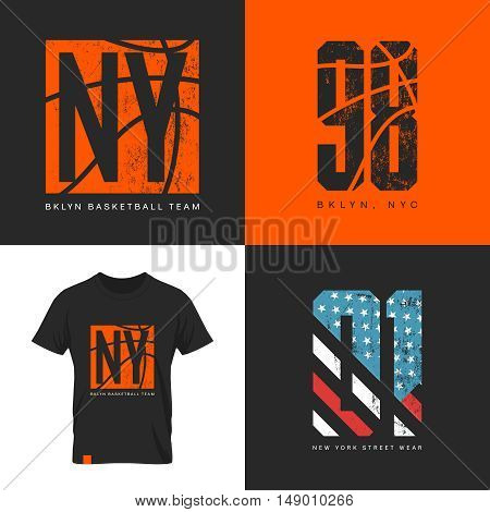 American flag and basketball old grunge effect tee print vector design.Premium quality superior sport number retro logo concept. New York street wear t-shirt emblem.