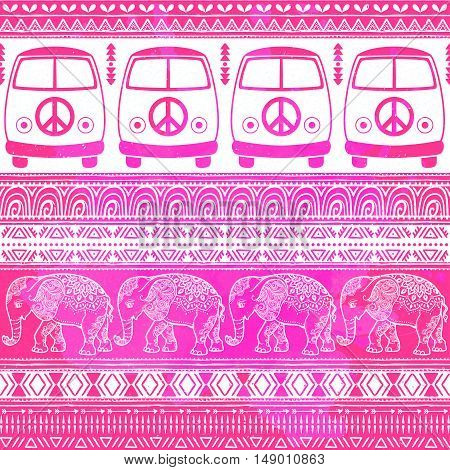 Hippie vintage car a minivan. Ornamental background. Love and Music, woodstock with hand pattern, textile doodle background and textures. and elephant african vector illustration. Retro 60s, 70s style