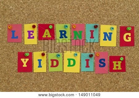 Learning Yiddish word written on colorful notes pinned on cork board.
