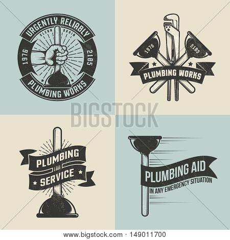 Retro vintage logo labels for plumbing service. Plunger in hand. Textures background text on separate layers.