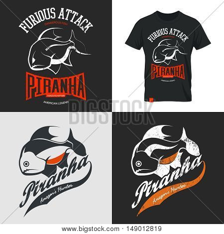 Vintage piranha old grunge effect tee print vector design. Web graphics stylized banner.Premium quality superior American retro logo concept. Shabby dangerous fish t-shirt emblem.