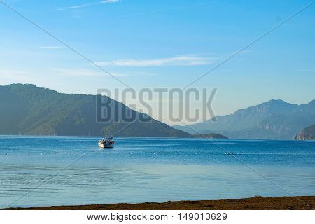 Beautiful blue seascape with ships in Marmaris