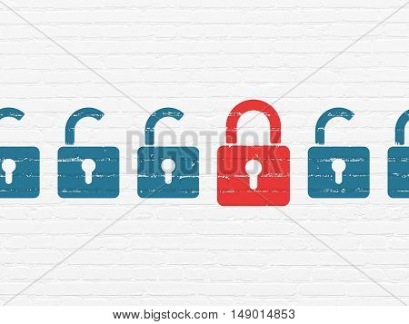 Safety concept: row of Painted blue opened padlock icons around red closed padlock icon on White Brick wall background