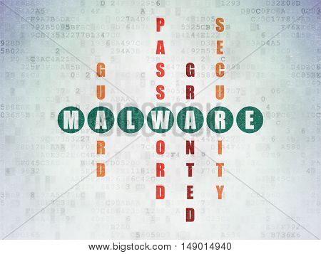 Safety concept: Painted green word Malware in solving Crossword Puzzle on Digital Data Paper background