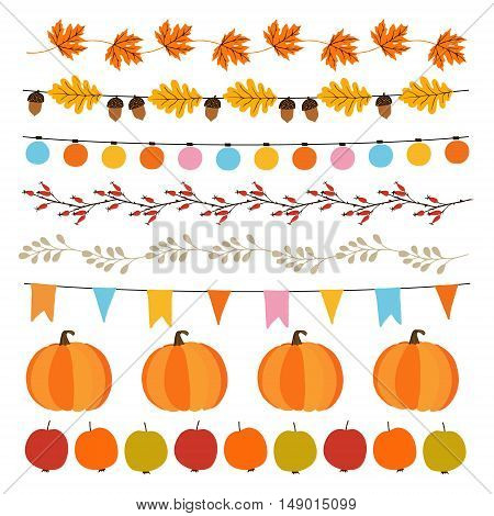 Set of cute autumn fall garlands with lights flags acorns leaves pumpkins apples and rose hips. Collection of garden party decorations. Isolated vector objects.