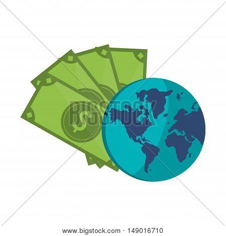 flat design money bills and earth globe icon vector illustration