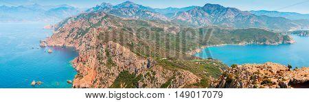 South Corsica. Wide panoramic coastal landscape. Capo Rosso Piana region Corse Du Sud