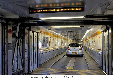 Folkestone, England, May 07 2016: Connecting Doors Between Carriages On The Euro Tunnel Train From C