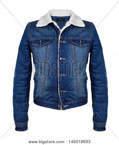 stylish denim jacket in the cool season on white background