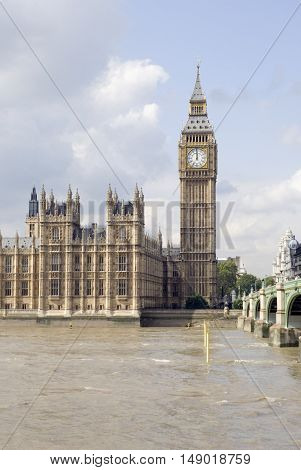 Westminster Parliament viewed from across the River Thames in London.