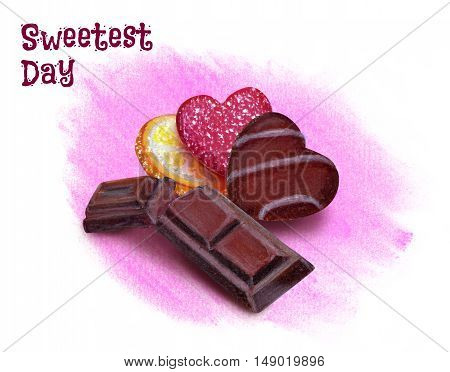 A day of sweets. Chocolate lemon slice and candy on a pink background. Pastel pensils on paper