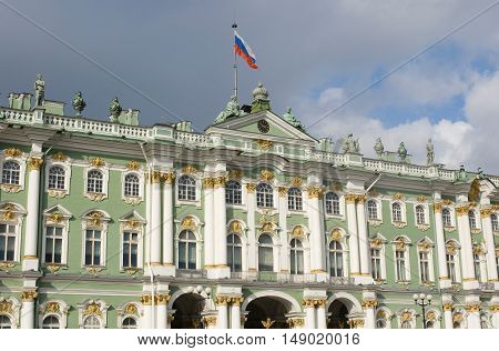 Low angle view of the Hermitage Winter Palace in Saint Petersburg, Russia