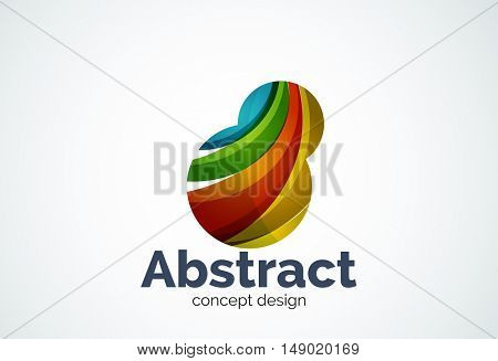 Abstract bubble logo template, thinking cloud concept or inflating. Color overlapping pieces design style
