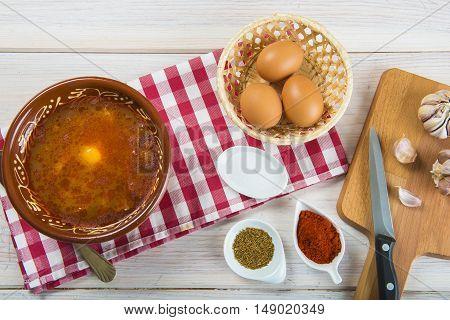 Castilian Or Garlic Soup With Eggs