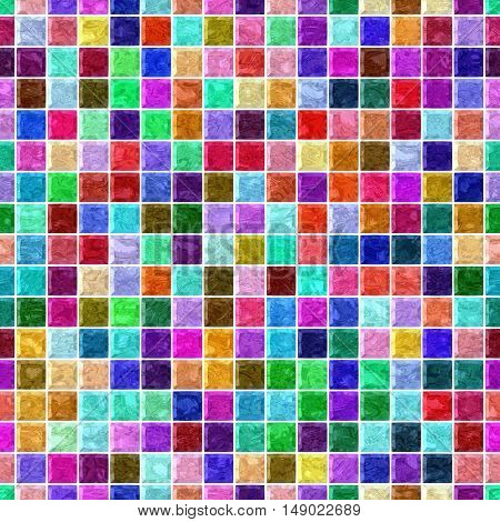 colorful marble square plastic stony mosaic seamless pattern texture background with white grout