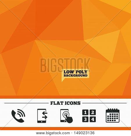 Triangular low poly orange background. Phone icons. Touch screen smartphone sign. Call center support symbol. Cellphone keyboard symbol. Incoming and outcoming calls. Calendar flat icon. Vector