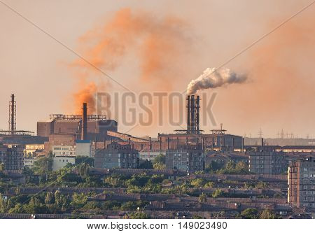 Steel Mill, Metallurgy Plant. Heavy Industry Factory