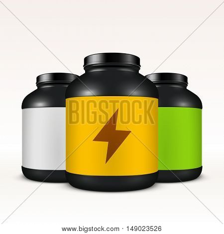 Super realistic vector sport nutrition container template. Easy to change label color. Whey protein and mass gainer black plastic jar isolated on white background.