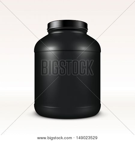 Super realistic vector sport nutrition container without label. Whey protein and mass gainer black plastic jar isolated on white background.