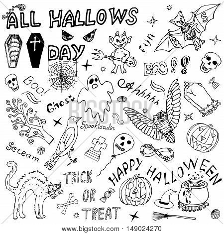 Happy Halloween Itemized Hand Drawn Design Vector set. Freehand Holiday Sketch elements, signs, symbols. Handmade Horror, Scary Doodles. Congratulations on All hallows' day. Drawing Illustration.