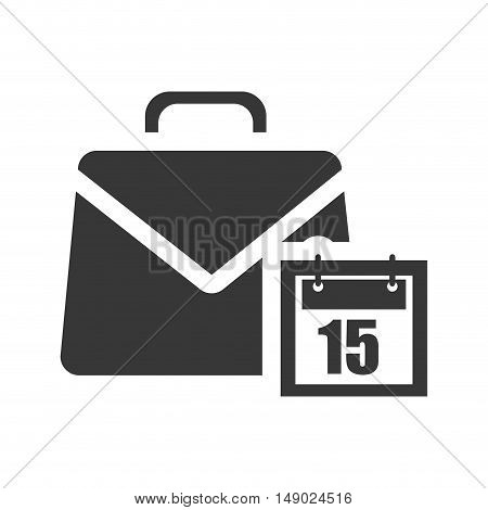 business briefcase accessory with calendar icon silhoutte. vector illustration