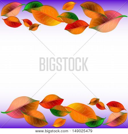 Abstract white background with colorful autumn leaves on top and bottom. Vector illustration