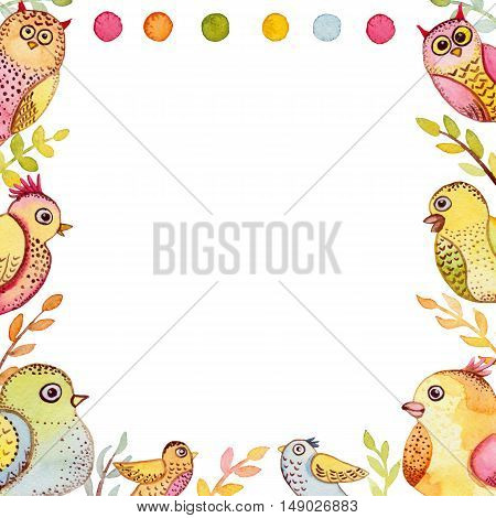 Square Feame with Watercolor Funny Birds Leaves And Dots