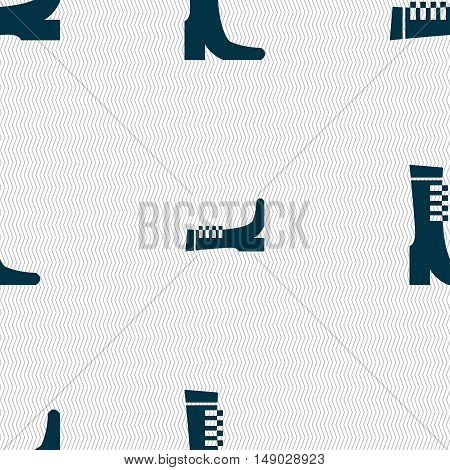 Female Fall And Winter Shoe, Boot Icon Sign. Seamless Pattern With Geometric Texture. Vector