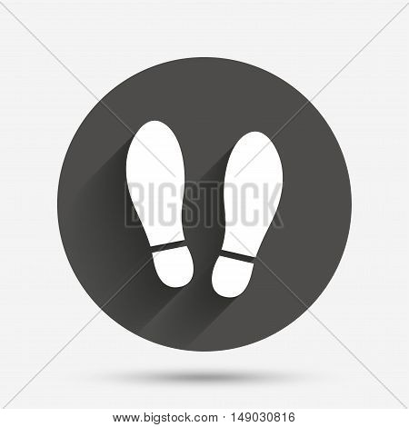 Imprint soles shoes sign icon. Shoe print symbol. Circle flat button with shadow. Vector