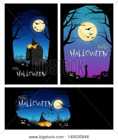 Templates with orange green and blue night sky and the moon. Pumpkin Evil. Dark Tree. Bats. Halloween party